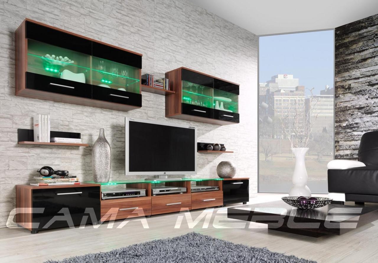 Мебельная стенка Cama I слива / черный глянец