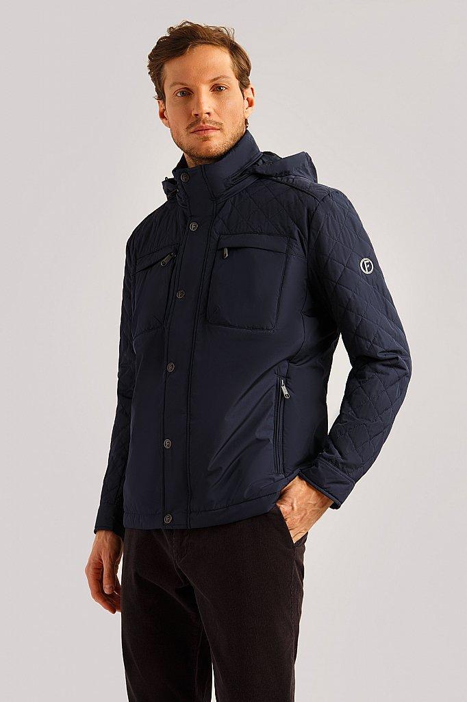 Демисезонная мужская куртка Finn Flare B19-21002-101 темно-синяя с капюшоном