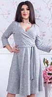 Платье женское приталенное ангора серое 48,50