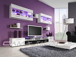 Мебельная стенка Cama I белый / белый и черный глянец