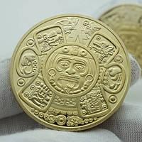 Позолоченная сувенирная монета ''Цивилизация Майя''