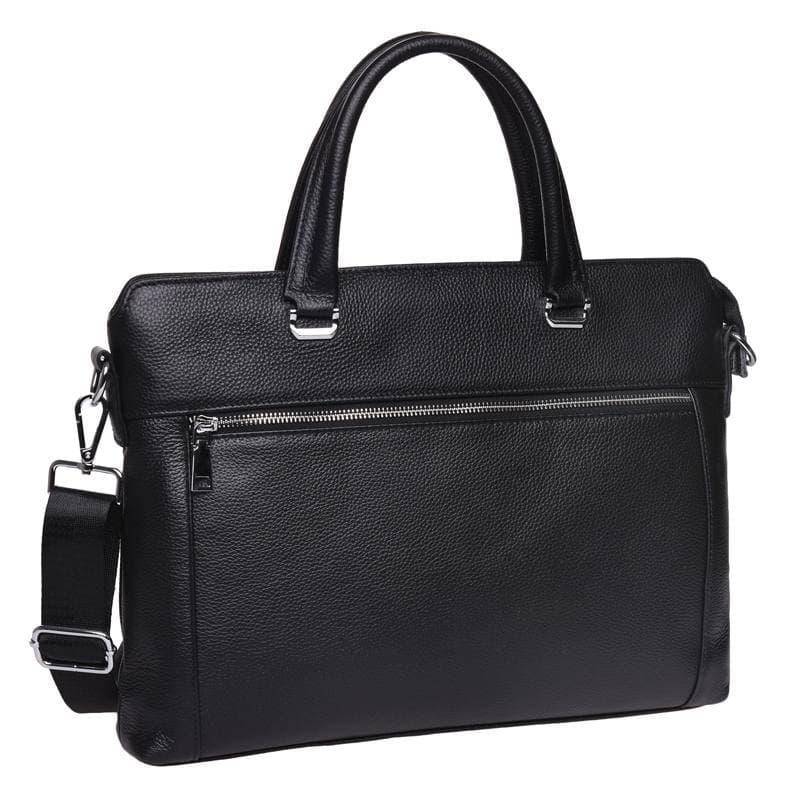 Мужская кожаная сумка-портфель Черная через плечо для ноутбука