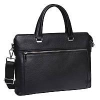 Мужская кожаная сумка-портфель Черная через плечо для ноутбука, фото 1