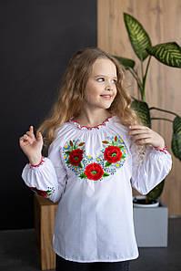 Вышиванка для девочки с пышными рукавами «Маків Цвіт»