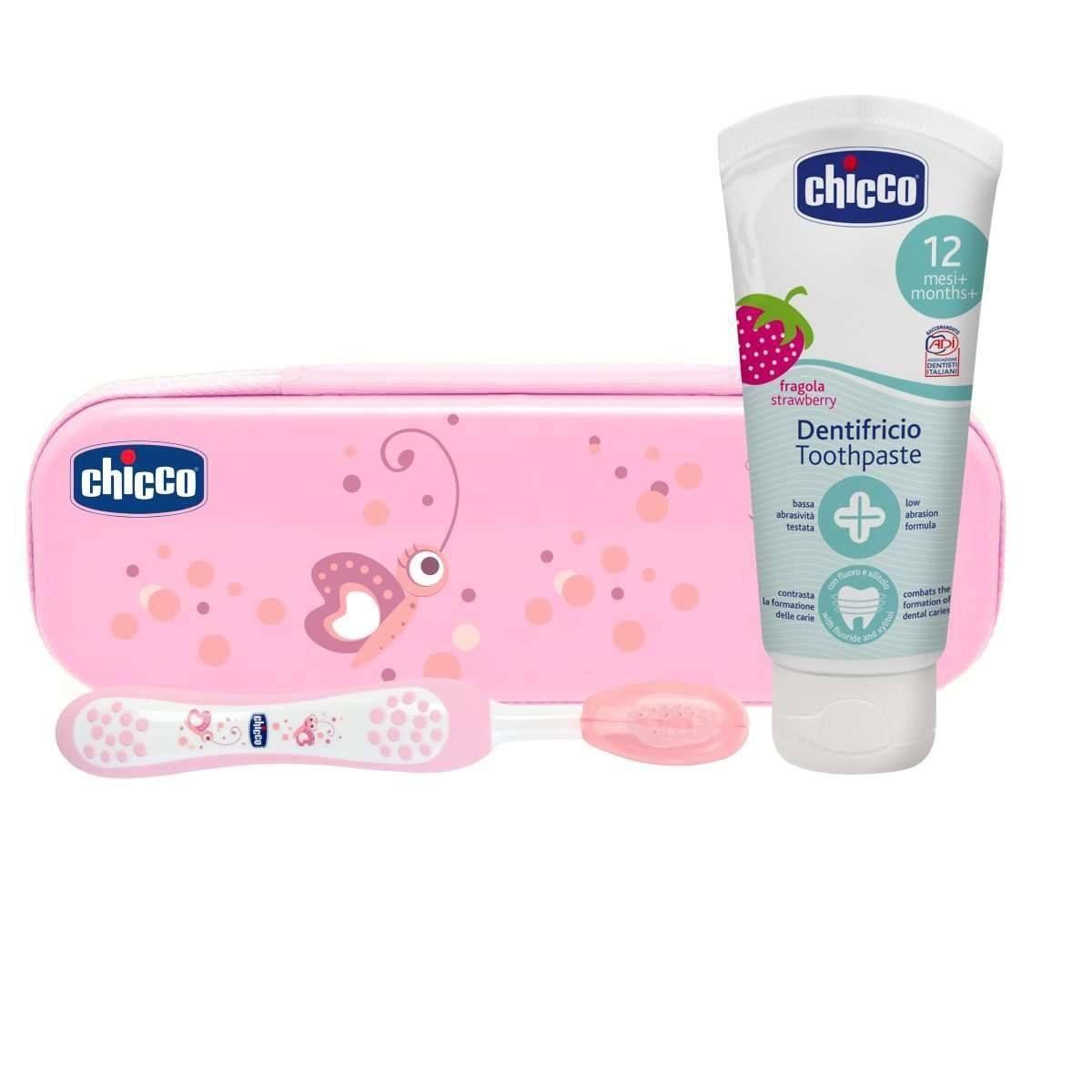 Дорожній набір Chicco: зубна щітка, зубна паста