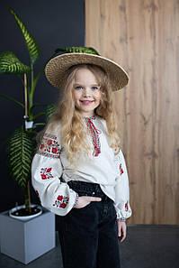Вышитая блузка для девочки с длинным рукавом с цветочным орнаментом «Розочки» лен