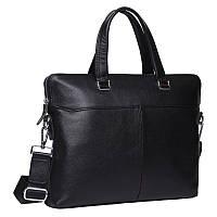 Офисная мужская кожаная сумка для ноутбука и документов Черная