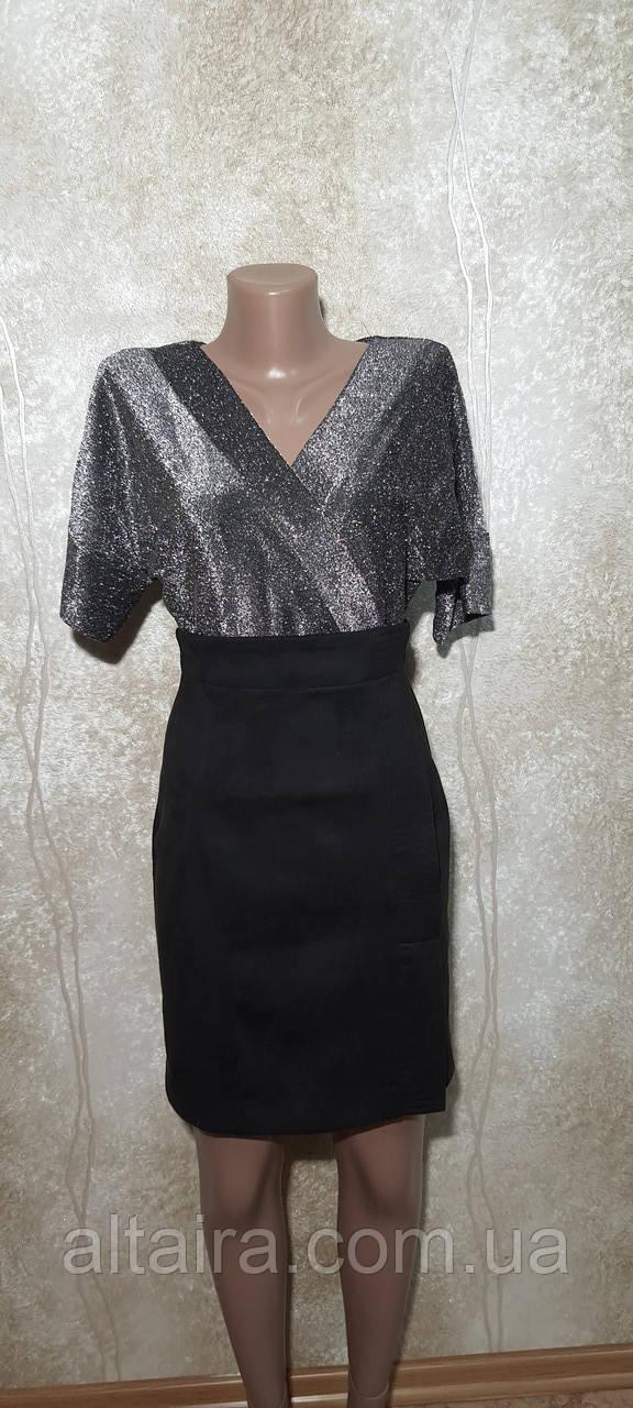 Платье женское нарядное вечернее серебро с черным. Размеры S, M,L.