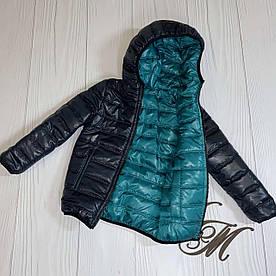 Куртка для мальчика подростка весна «Футбик» двухсторонняя синяя с бирюзой 104