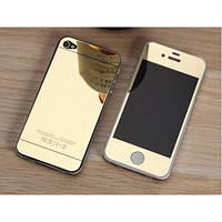 Защитное стекло TG (2 in 1) для iPhone 4/4s Gold переднее + заднее