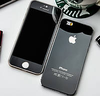 Защитное стекло TG (2 in 1) для iPhone 4/4s Black переднее + заднее