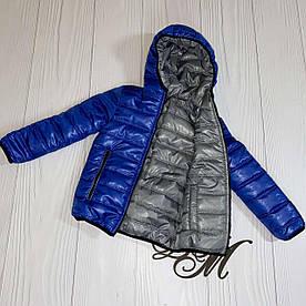 Куртка для мальчика подростка весна «Футбик» двухсторонняя серый с электрик 104