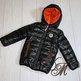 Куртка для мальчика подростка деми «Футбик» двухсторонняя черный с оранж 104