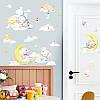 """Вінілові наклейки на стіну, шафа в дитячу """"звірята на місяць у хмарах"""" 70см*100см (лист 50*70см), фото 6"""