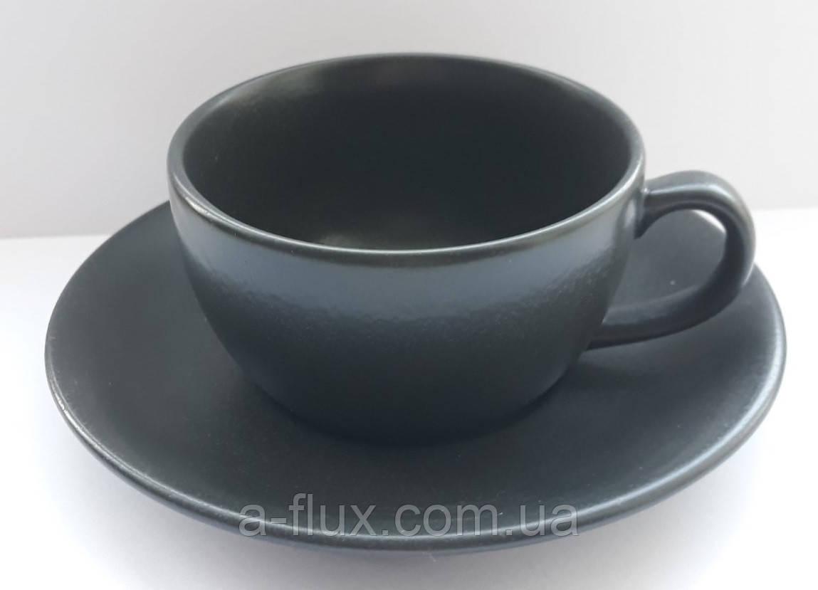 Чашка з блюдцем Seasons Black Porland 200 мл