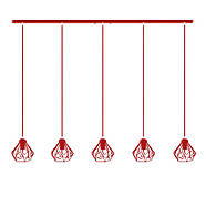 Підвісна люстра на 5 ламп SKRAB-5 E27 червоний, фото 2