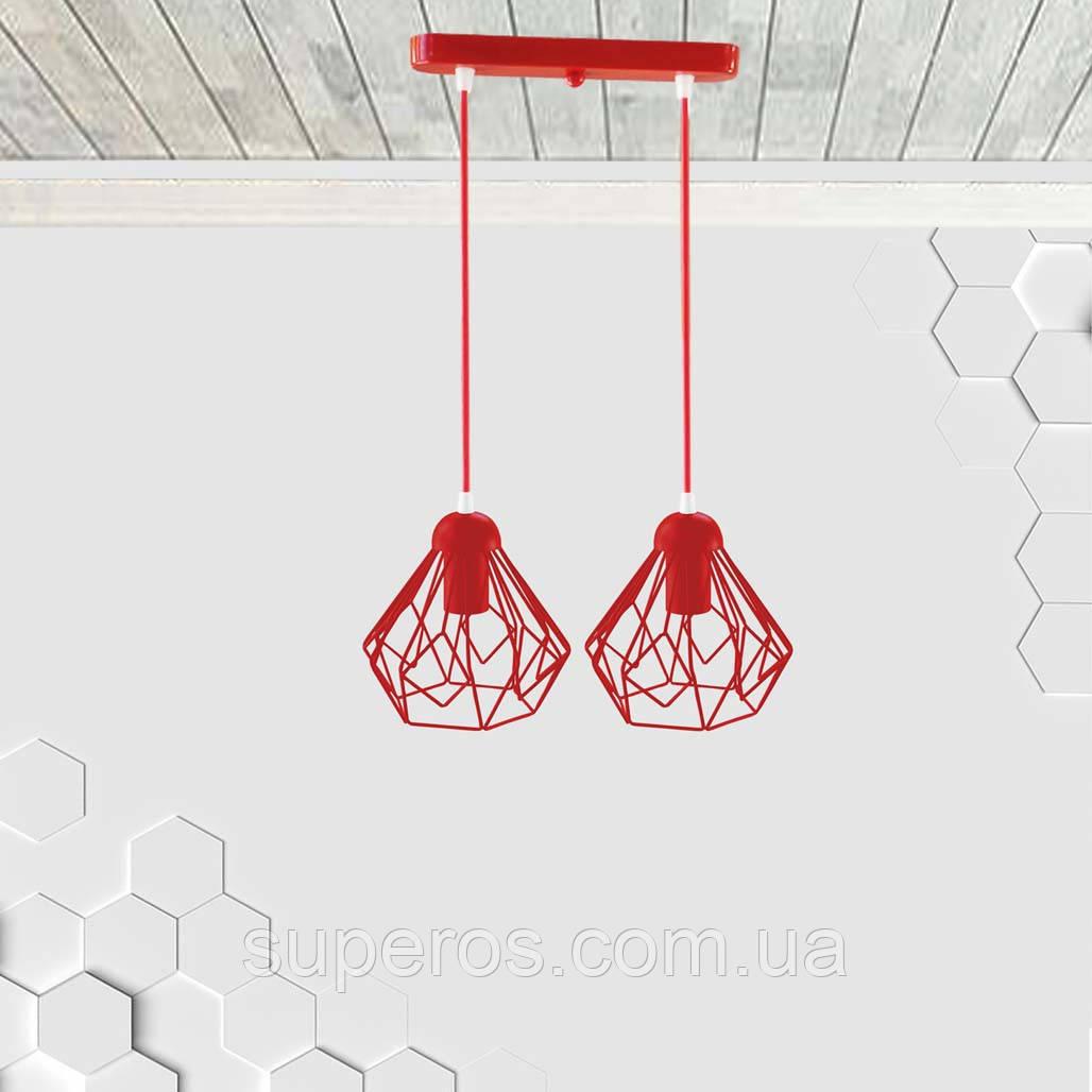 Підвісна люстра на 2-лампи SKRAB-2 E27 червоний