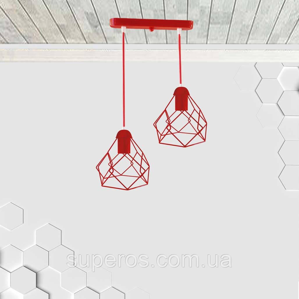 Подвесная люстра на 2-лампы RUBY-2 E27 красный