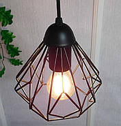 Підвісна люстра на 5 ламп SKRAB-5G E27 на круглій основі, чорний, фото 5