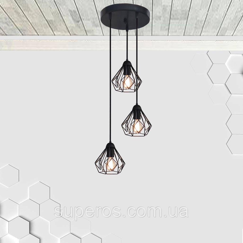 Підвісна люстра на 3-лампи SKRAB-3G E27 на круглій основі, чорний