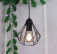 Підвісна люстра на 3-лампи SKRAB-3G E27 на круглій основі, чорний, фото 2
