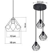 Підвісна люстра на 3-лампи SKRAB-3G E27 на круглій основі, чорний, фото 8