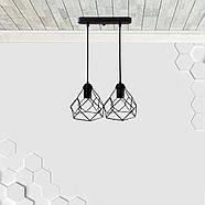 Підвісна люстра на 2-лампи RUBY-2 E27 чорний, фото 2