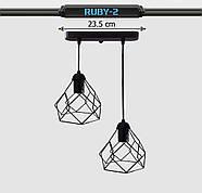 Підвісна люстра на 2-лампи RUBY-2 E27 чорний, фото 8
