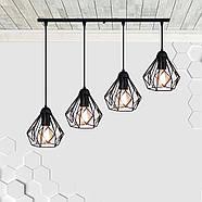 Підвісна люстра на 4-лампи SKRAB-4 E27 чорний, фото 2