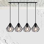 Підвісна люстра на 4-лампи SKRAB-4 E27 чорний, фото 3