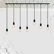 Підвісний світильник на 7-ламп CEILING-7 E27 чорний, фото 2
