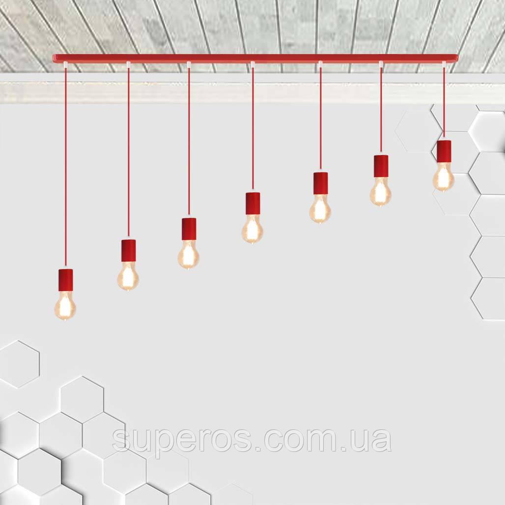Підвісний світильник на 7-ламп CEILING-7 E27 червоний