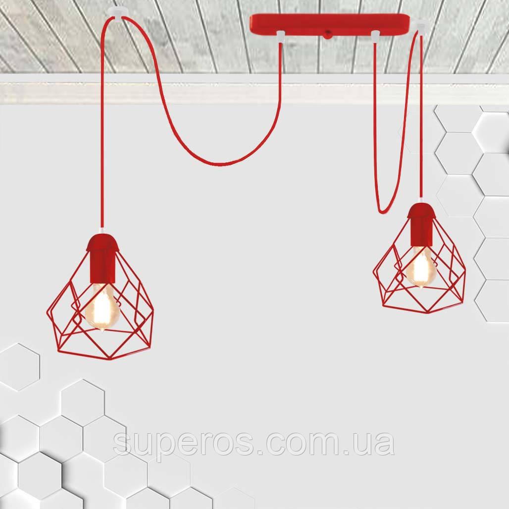Підвісний світильник на 2-лампи RUBY/SP-2R E27 червоний