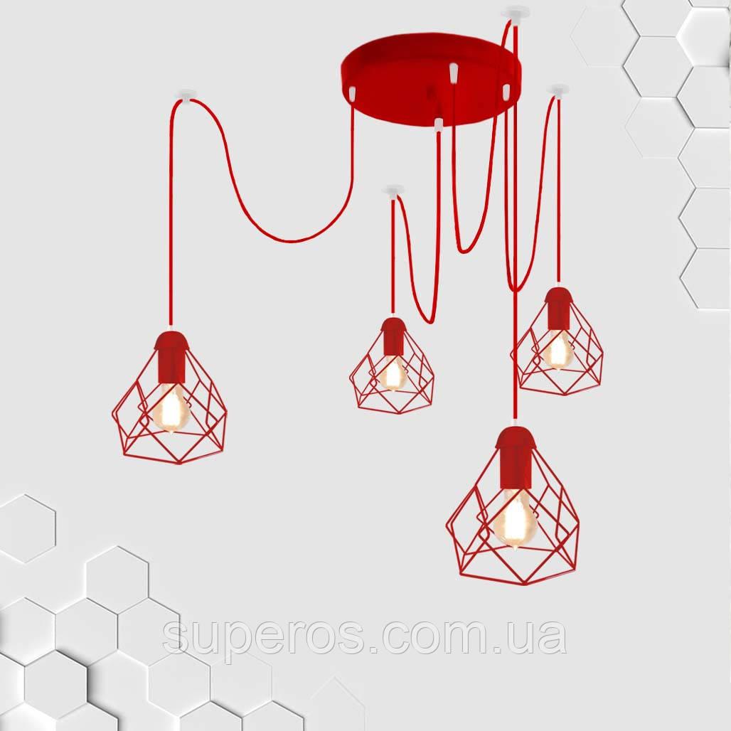 Підвісна люстра на 4-лампи RUBY/SP-4R E27 червоний