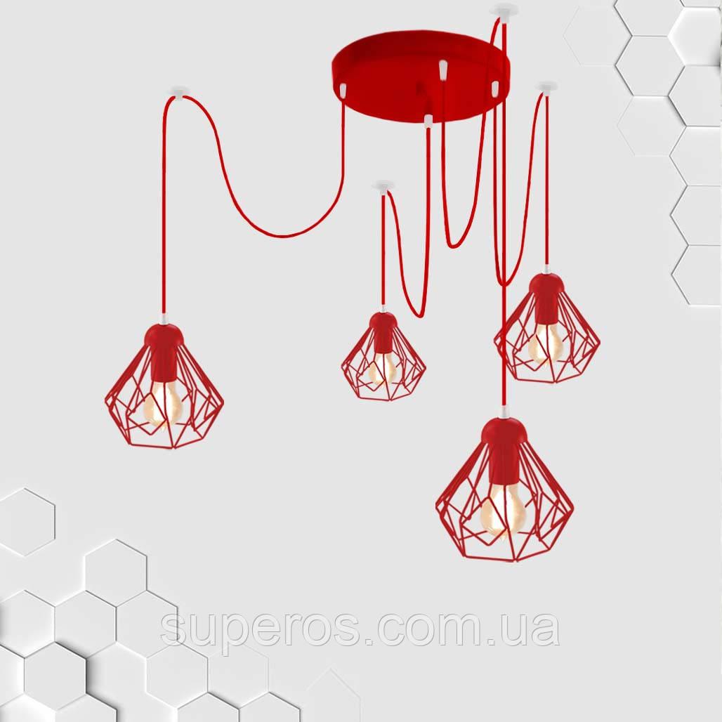 Подвесная люстра на 4-лампы SKRAB/SP-4R E27 красный