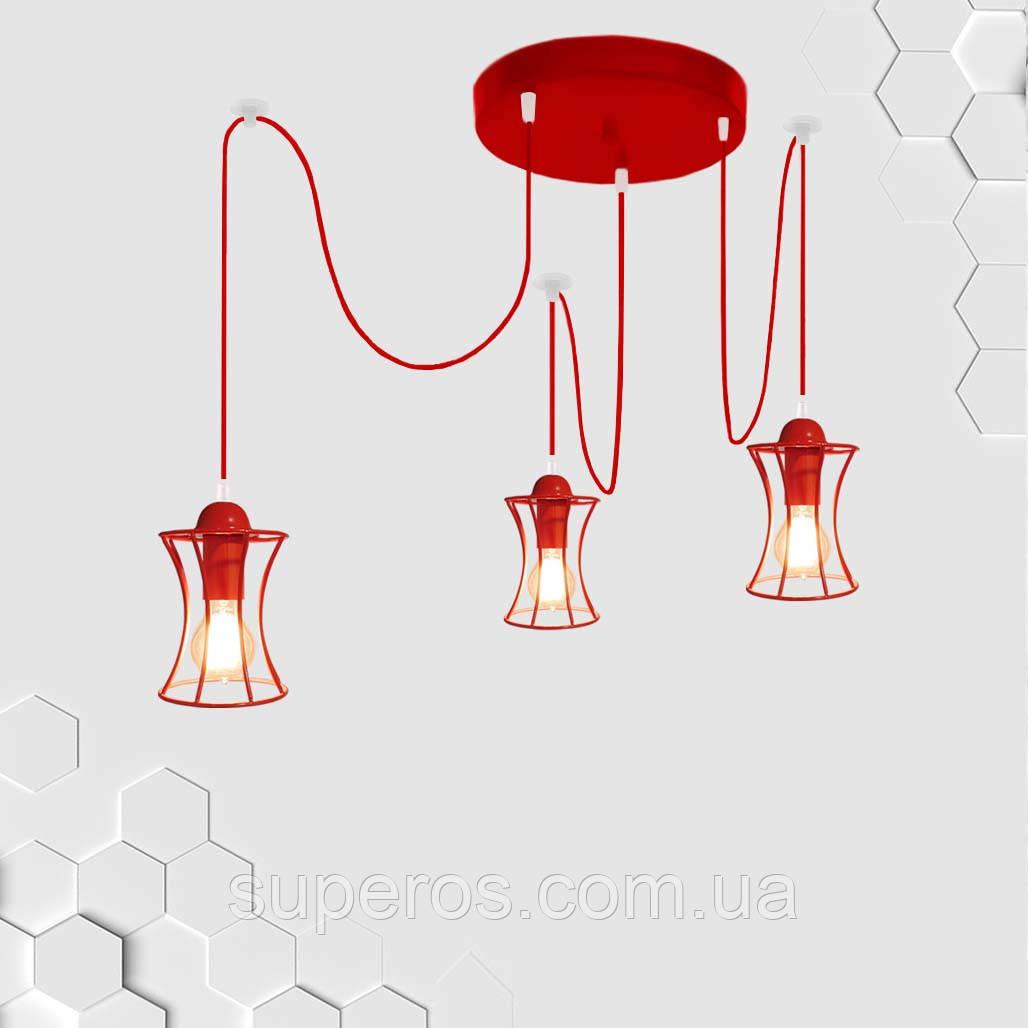 Підвісна люстра на 3-лампи SANDBOX/SP-3R E27 червоний