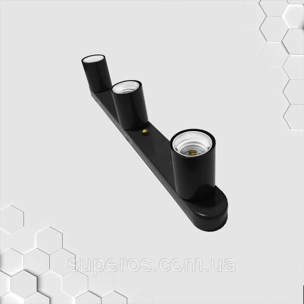 Светильник бра настенно-потолочный на 3-лампы BASE-3  E27 черный