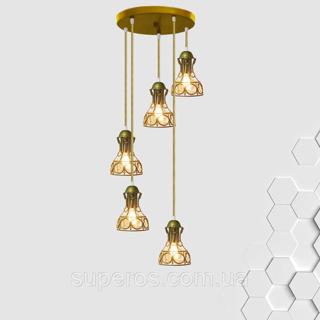 Підвісна люстра на 5 ламп RINGS-5G E27 на круглій основі, золото