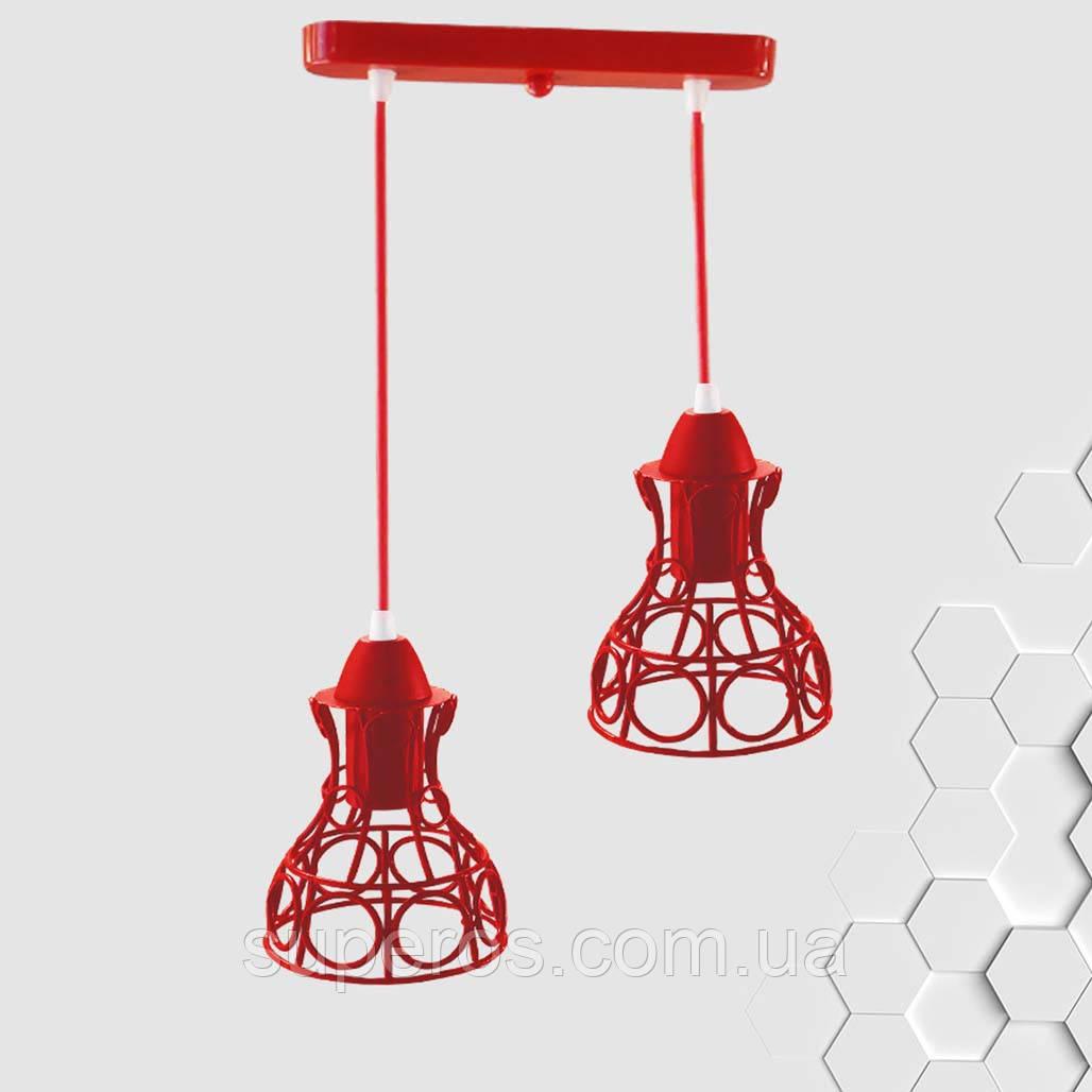 Підвісна люстра на 2-лампи RINGS-2 E27 червоний