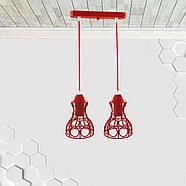 Підвісна люстра на 2-лампи RINGS-2 E27 червоний, фото 2