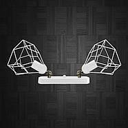 Світильник поворотний на 2-лампи RUBY/LS-2 E27 бра білий, фото 2