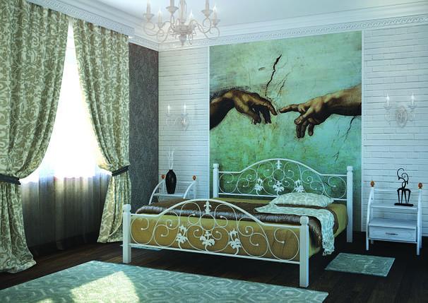 Ліжко металеве Жозефіна на дерев'яних ніжках Метал-Дизайн / Metall Design, фото 2