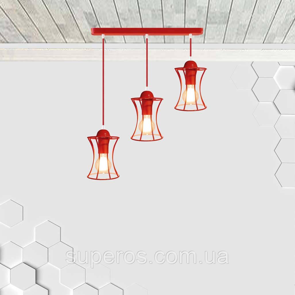 Підвісна люстра на 3-лампи SANDBOX-3 E27 червоний