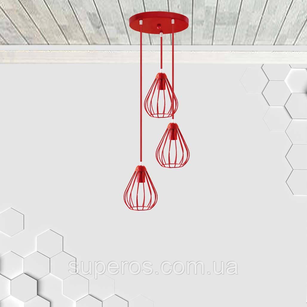 Подвесная люстра на 3-лампы FANTASY-3G E27 на круглой основе, красный