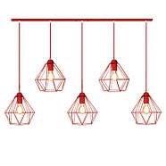 Подвесная люстра на 5-ламп CLASSIC-5 E27 красный, фото 2