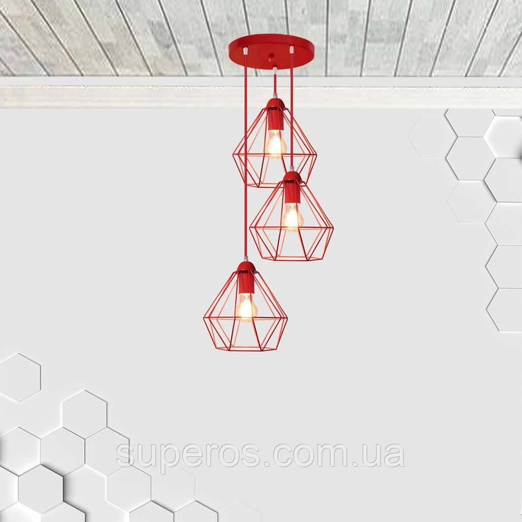 Копія Підвісна люстра на 3-лампи CLASSIC-3G E27 на круглій основі, червоний