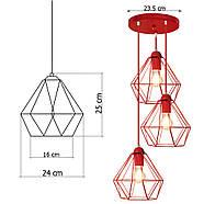 Копія Підвісна люстра на 3-лампи CLASSIC-3G E27 на круглій основі, червоний, фото 9