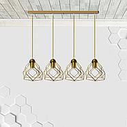 Подвесная люстра на 4-лампы RUBY-4 E27 золото, фото 3