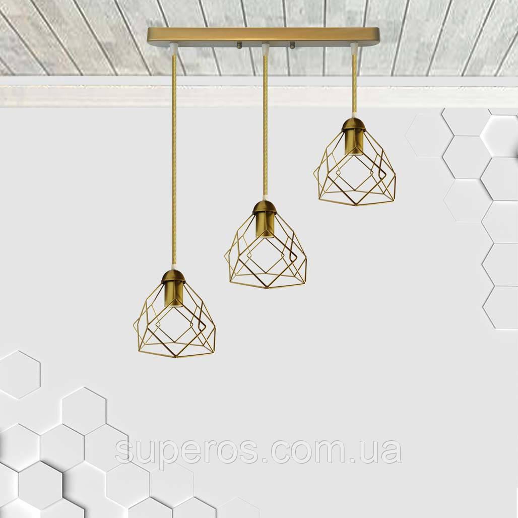 Підвісна люстра на 3-лампи RUBY-3 E27 золото