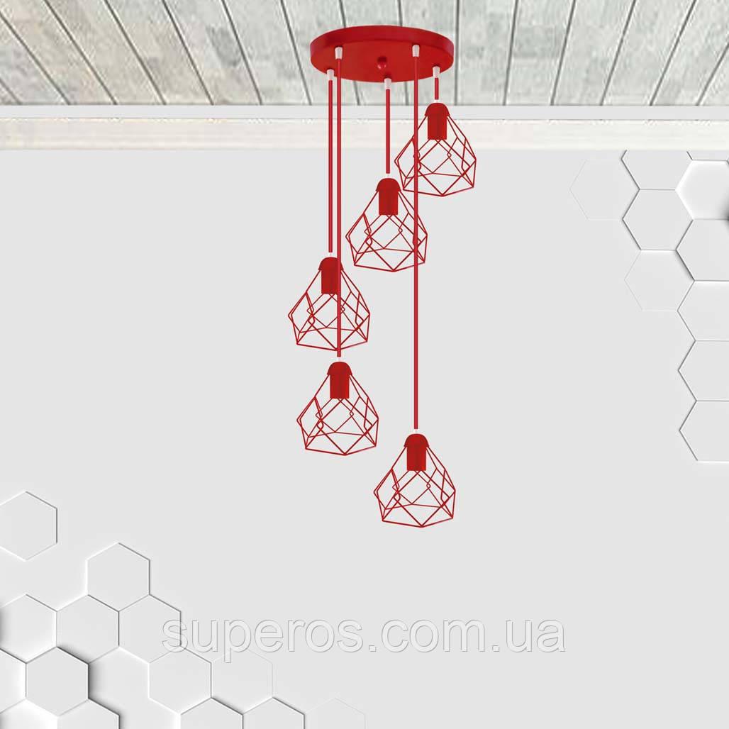 Підвісна люстра на 5 ламп RUBY-5G E27 на круглій основі, червоний